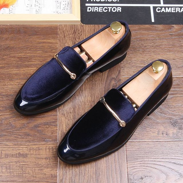 4637cc56c4a Men 2019 Brand New Luxury Blue Black Penny Loafer Shoes Patchwork of  Genuine Leather Horsehair Round Toe Slip on Dress Shoe