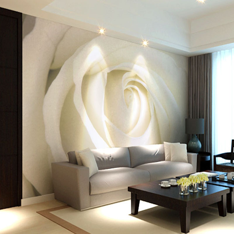 Aliexpress Buy Custom Photo Mural Modern Minimalist 3D White Rose Non Woven Wallpaper For Living Room Sofa Background Wall Murals From