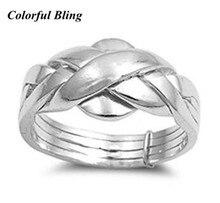 خاتم الخطوبة والزفاف الإسترليني 925 مكون من 4 قطع خاتم لغز للمرأة والرجل والصبي والفتاة مقاس 4 12