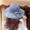 Mujeres de cubo Denim sombreros con el arco Summer Caps mujer sol protector solar sombrero algodón tapa exterior Casual con sombrero