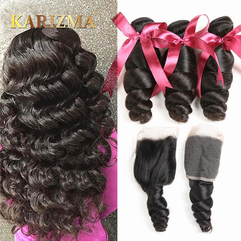 Karizma brazil Loose Wave csomagok bezárása 100% -os emberi haj - Emberi haj (fekete)