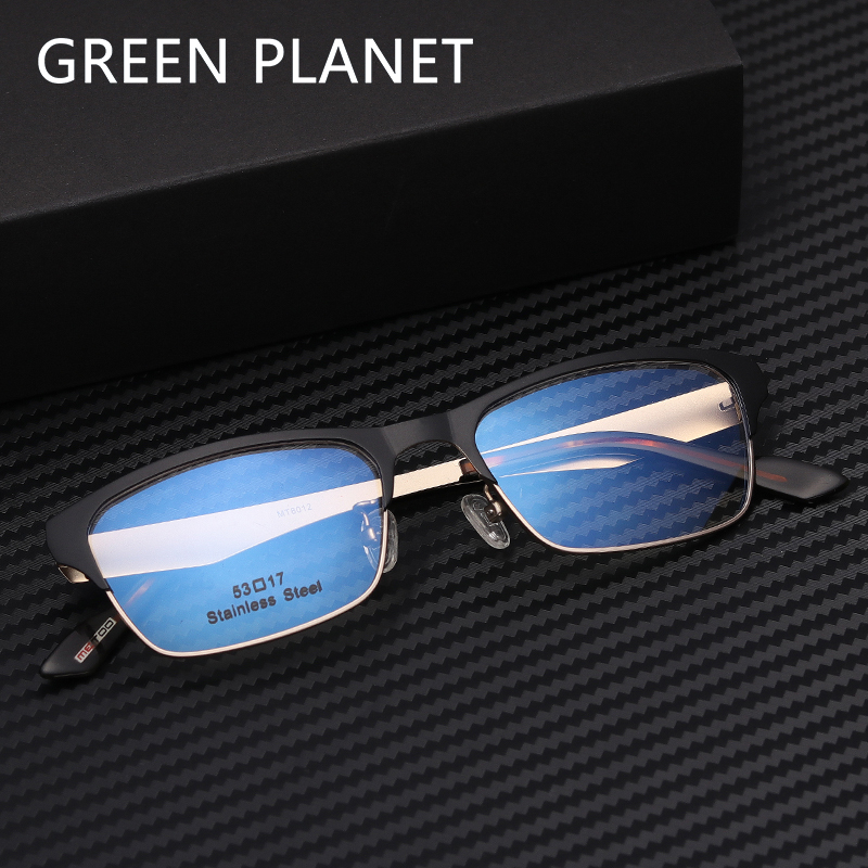 Men Metal Eye Glasses Frame Double Layer Myopia Silicone Nose Pads Metal Clear Frame Decoration Reading Eyewear #MT8012