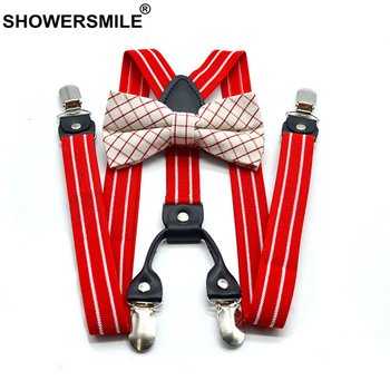 SHOWERSMILE Red Mens Suspenders Braces Women Bow Tie Dress Suspenders Belt Husband Striped Y Back Suspender Pants for Adults random flamingos bow tie back circle dress