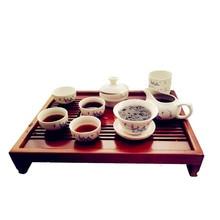 Moso Bambú Bandeja Del Té Kung Fu Bandeja de Té Rectangular, rojo y Marrón de madera Mesa de Té Del Puer Del Té Chahai venta Caliente del envío libre