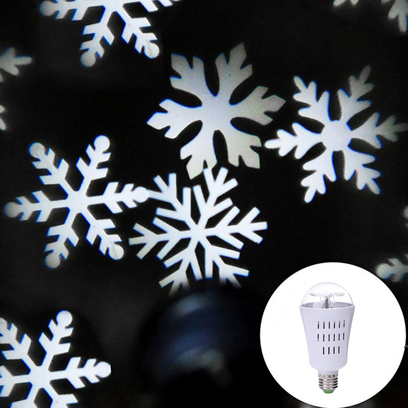 E27 4W Auto Rotating LED Projector Light Laser lamp Bulb Crystal Ball Snowflake Halloween Christmas Party DJ Disco Stage lamp цена