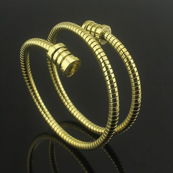Titanium Steel Jewelry Wholesale Exaggerated Bulgaria Double Coil Spring Grain Bracelet Couple