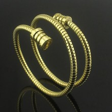 Titanium Steel Jewelry Wholesale Exaggerated Bulgaria Double Coil Spring Grain Bracelet Couple