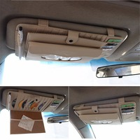 Car Styling Sun Visor Pouch Bag Auto CD Holder Sunglasses Holder Tissue Box Multi Function Storage Bag Car Organizer Pen Holder