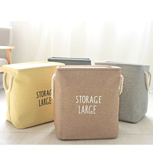 Laundry Bag 40*36*26 cm Thickened EVA Square Storage Basket Cotton Linen Foldable Bags For Home Organizer Duty
