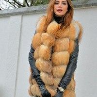 2019ladies new red fox fur vest natural fox fur real fox fur vest casual fashion warm autumn and winter European street style
