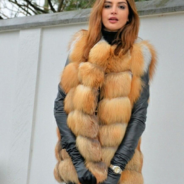 Womens new red fox fur vest natural fox fur real fox fur short vest casual fashion warm autumn and winter European street style