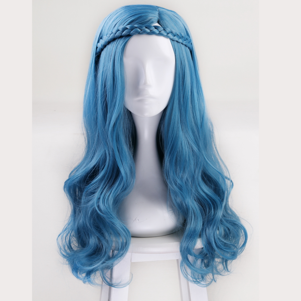 US $17 0 22% OFF|2019 New Descendants 2 Evie Sky Blue Long Wavy Wig Cosplay  Costume Women Synthetic Hair Halloween Party Role Play Wigs + Wig Cap-in