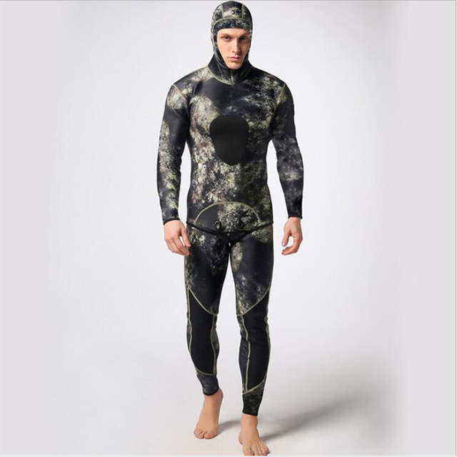Men 3mm Neoprene Two-Piece Splicing Diving Suits Surfing snorkel swimsuit Full Suit Camouflage Split Suits combinaison wetsuit