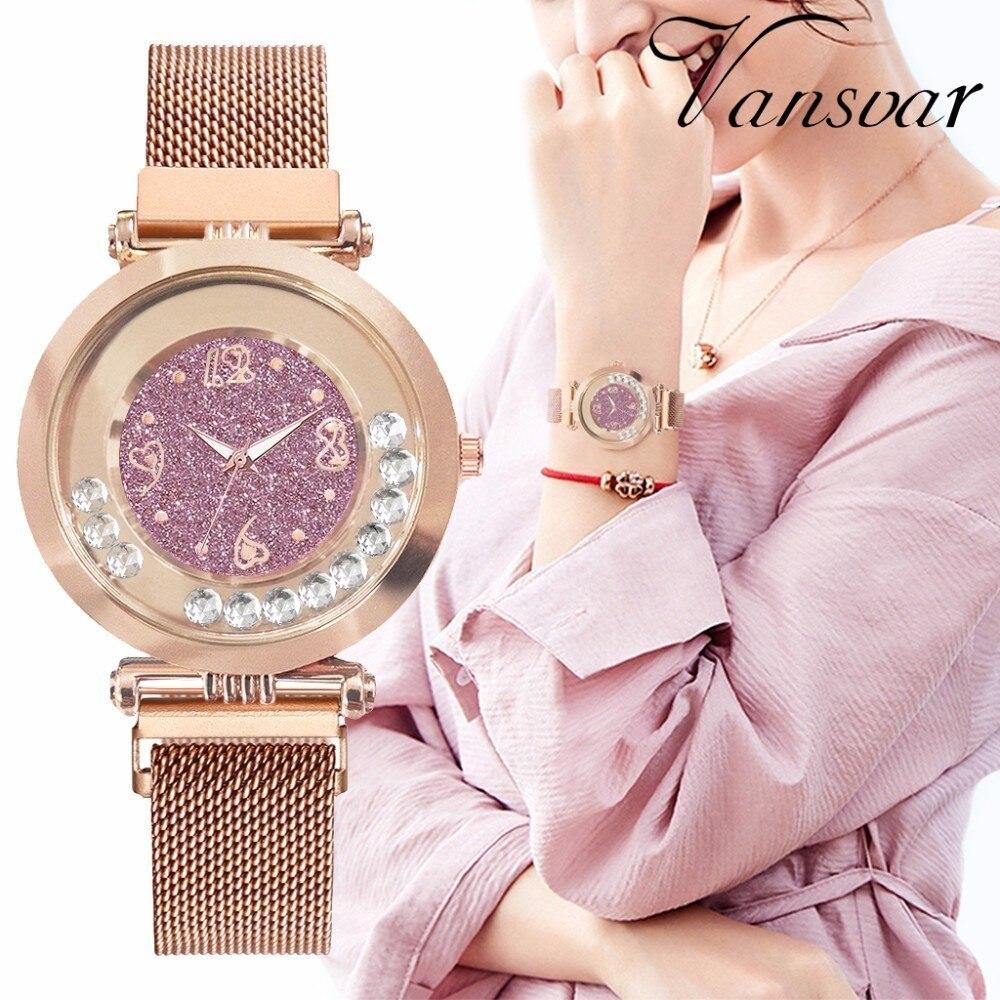Hot Sale Women Magnet Buckle Full Diamond Starry Sky Watch Luxury Ladies Stainless Steel Quartz Watch Clock Dropshipping