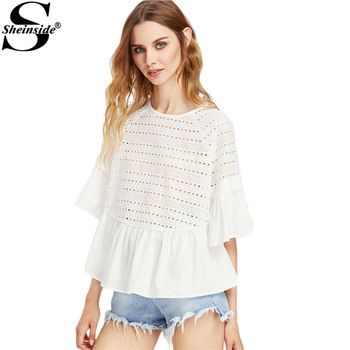 Sheinside White Eyelet Embroidery Tops Ruffle Trim Blouse 2017 Women Keyhole Tie Back Summer Tops Cut Out Cute Elegant Blouse