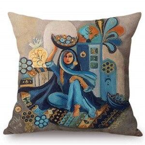 Image 3 - Islamico Pittura di Arte Arabo Donna di Trasporto Piastra Musulmano Decorazione Della Casa Divano Coperte E Plaid Coperture Per Cuscini In Stile Mediterraneo Fodere Per Cuscini