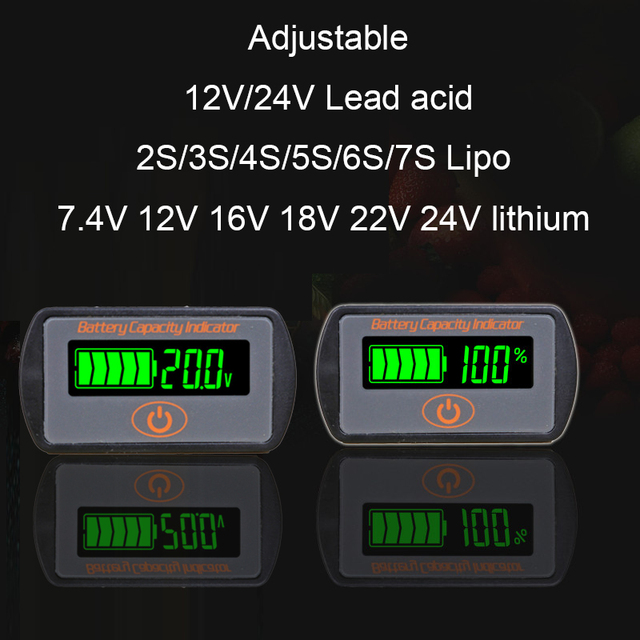 Indicateur de capacité de batterie au Lithium réglable 2 S 3 S 4 S 5 S 7 S LY7 12 V 24 V acide de plomb Li ion testeur de voltmètre ebike LCD