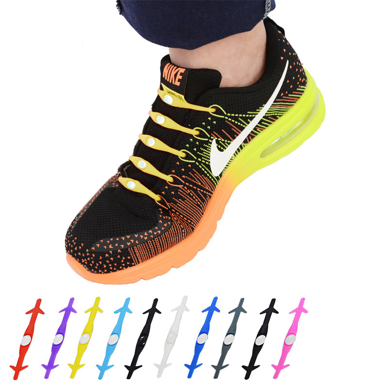 4pair/lot  Novelty Unisex Women Men No Tie Shoelaces Elastic Silicone Shoe Lace for All Sneakers Running ShoesLaces Popular