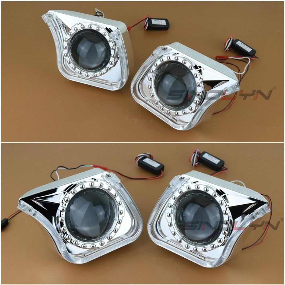 8.0 Angel Eyes Halo Headlight HID Bixenon Projector Lens Daytime Running Lights