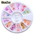 BlueZoo 24 pçs/caixa 12 Mixed Cor Das Unhas Art Pigmentadas Rosas Resina Decoração de Unhas 3D Art Decoração DIY Etiqueta Do Prego Beleza dicas