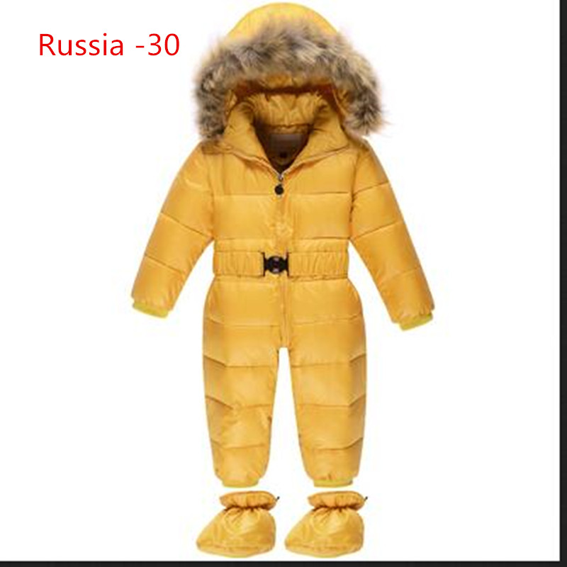 Baby Girls Winter Romper Jumpsuits Russia Winter Baby Clothing Winter Snow Wear Duck Down Jackets Snowsuits For Kids Clothes