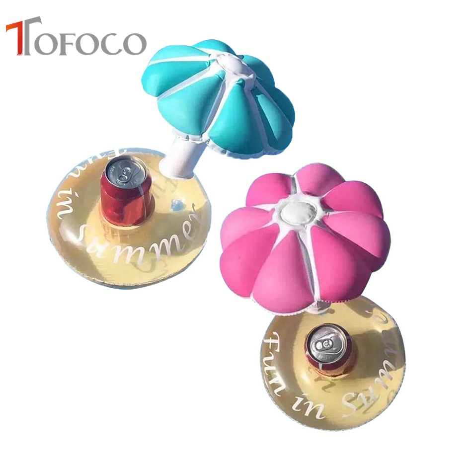 TOFOCO Summer Swimming Pool Party Floating Inflatable Mini Umbrella Water Drinks Cup Fruit Beach Cup Care Floating