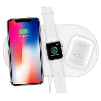 RorainT 3-in-1 QI Wireless Charger base AirPower mat For iPhone X 8plus XR XS Max Apple AirPods Watch Wireless charging phone