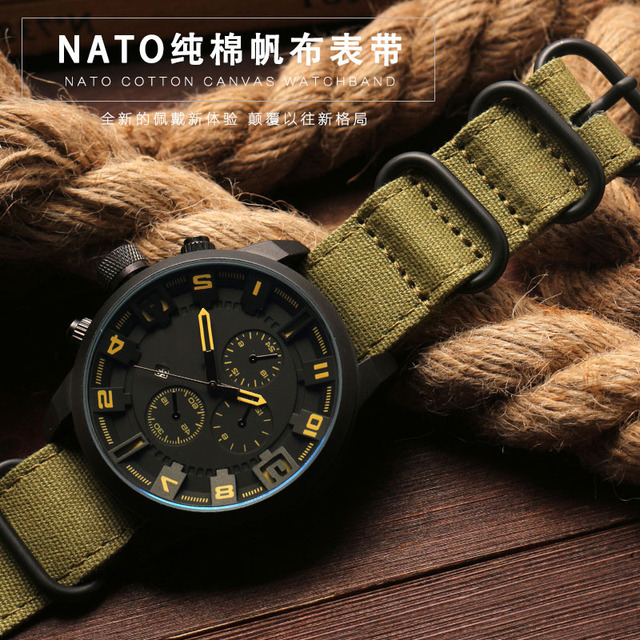 high quality Fabric Military watchband for Nato watch Climbing Sports strap fit Zulu watch straps 20 22 24 26mm Cotton canvas