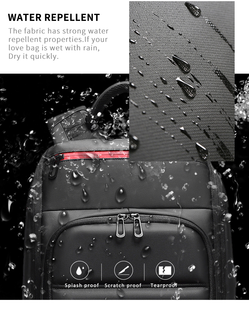 a photo showing the waterproof materials of a backpack