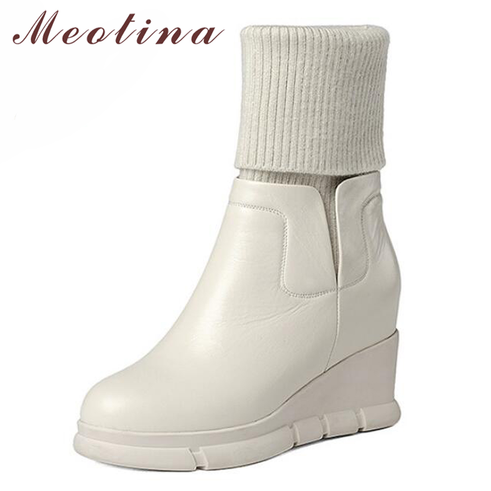 Meotina Women Real Leather Boots Winter Platform Wedge Mid Calf Boots Fashion Sock Boots Ladies Genuine Leather Shoes BeigeMeotina Women Real Leather Boots Winter Platform Wedge Mid Calf Boots Fashion Sock Boots Ladies Genuine Leather Shoes Beige