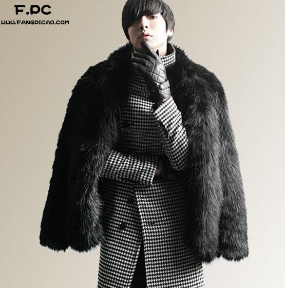 Noir personnalisé chaud faux fourrure de renard manteau hommes en cuir veste hommes manteau court villosités hiver lâche thermique épaissir survêtement 3XL