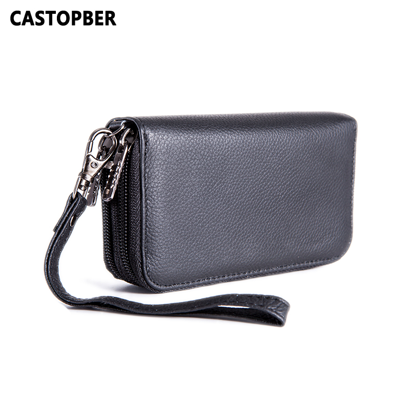 Key Wallets Holder Cowhide Genuine Leather For Men <font><b>Organizer</b></font> 2 Zipper Wallet Clutch Coin <font><b>Purse</b></font> Man <font><b>Cell</b></font> <font><b>Phone</b></font> Bag Waist Famous