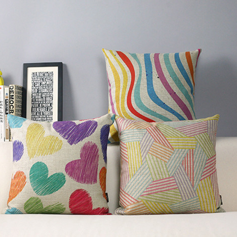 LOVE Colorful Watercolor stripe Chinese Couples Present Linen Pillowcase Car Sofa Cushion Cover for leaning on cojines