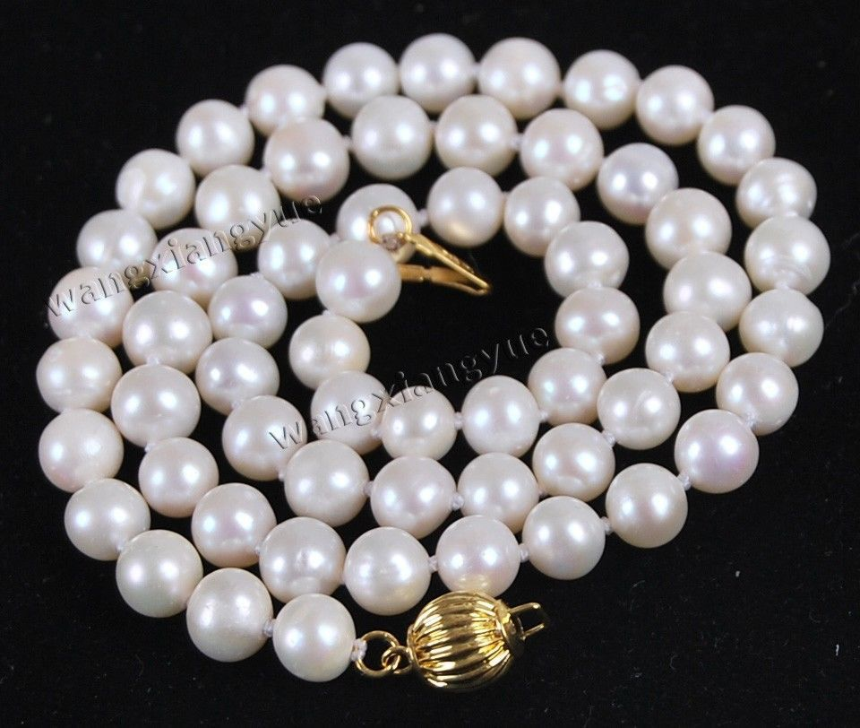 FREE shipping> >Genuine 7 7.5MM white Akoya Cultured Pearl Jewelry Necklace 17 AA+ S06 6.07