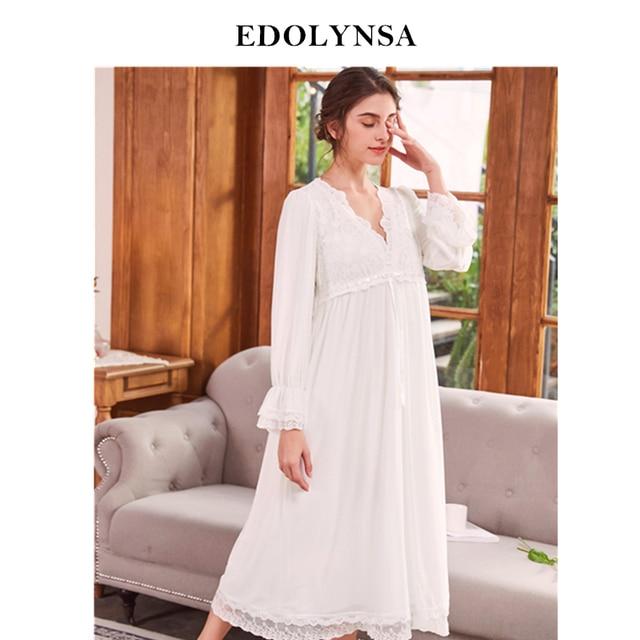 6a40b4ab0 Nightgowns Sleepshirt 2018 Sleepwear Solid Nightdress Lace Nightwear  Vintage Home Dress Nightgown Female Indoor Clothing