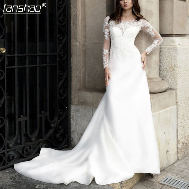2019 Illusion Mermaid Wedding Dress Elegant Lace Appliques Long Sleeve Court Train Customized Bridal Dress