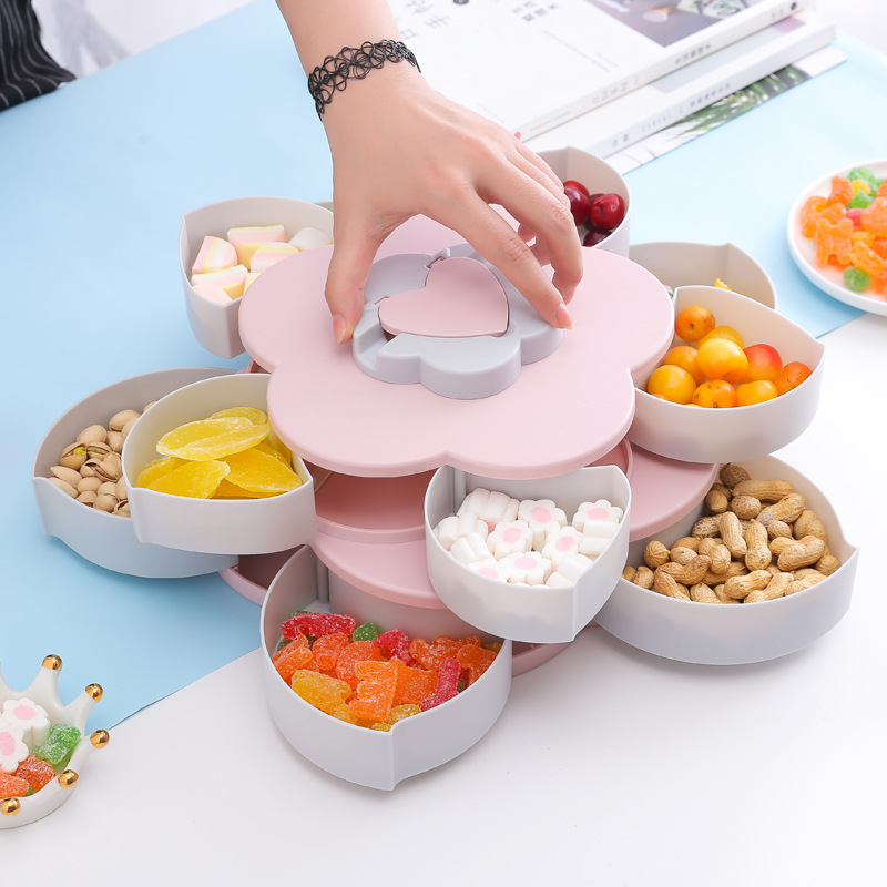 Double Layer Fruit Bowl Petal Form Tray Dish Plate Appetizer Kitchen Tray Fruit Plate + Mobile Phone Holder UYT Shop