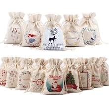 1PC 2017 New Year Christmas Candy Bag Santa Claus Drawstring Canvas Sack Tableware Rustic Vintage Stockings Gift Bag GI899499
