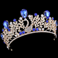 Vintage Blue Crystal Princess Queen Quinceanera Bridal Wedding Tiaras And Crowns Pageant Diamante Peacock Hair Accessories