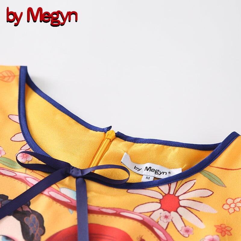 Imprimé Megyn De D'été Soirée Par Rond A Courtes Floral Col Qualité Haute Femmes Piste Robe Orange Robes Manches 2018 ligne A51qdF