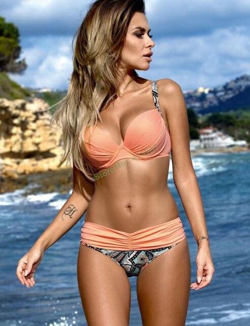 Strapless Badpak Grote Cupmaat.Nieuwe Solid Push Up Gevoerde Bikini Grote Cup Bikini Driehoek