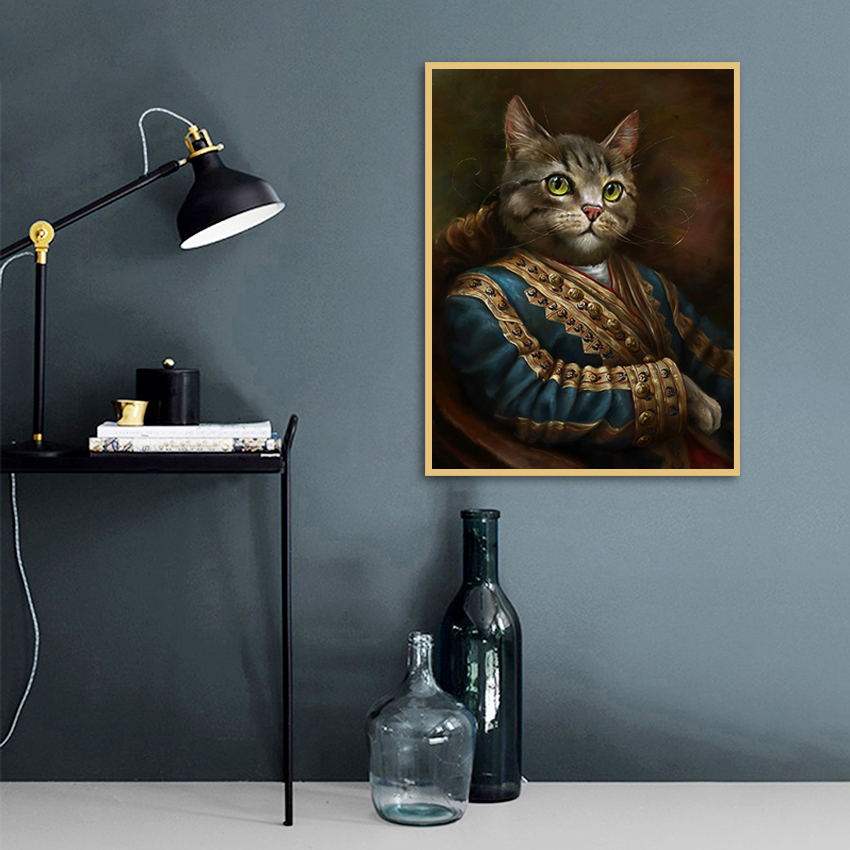 Vintage Style Home Decoration Animals Canvas Painting Cardinal Cat Portrait Posters Hd Print Nordic Wall Art Picture for Bedroom in Painting Calligraphy from Home Garden