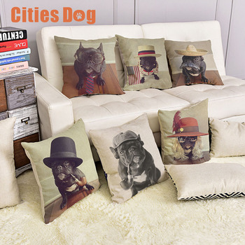 Animal dog Pillowcase French Bulldog Cushion cover christmas decorations for home Pillow case Linen Cotton sofa Dogs cojines
