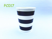 12pcs/lot Black Horizontal Striped 9OZ Drinking Party Paper Cups Birthday Wedding Home Party Table Supplies
