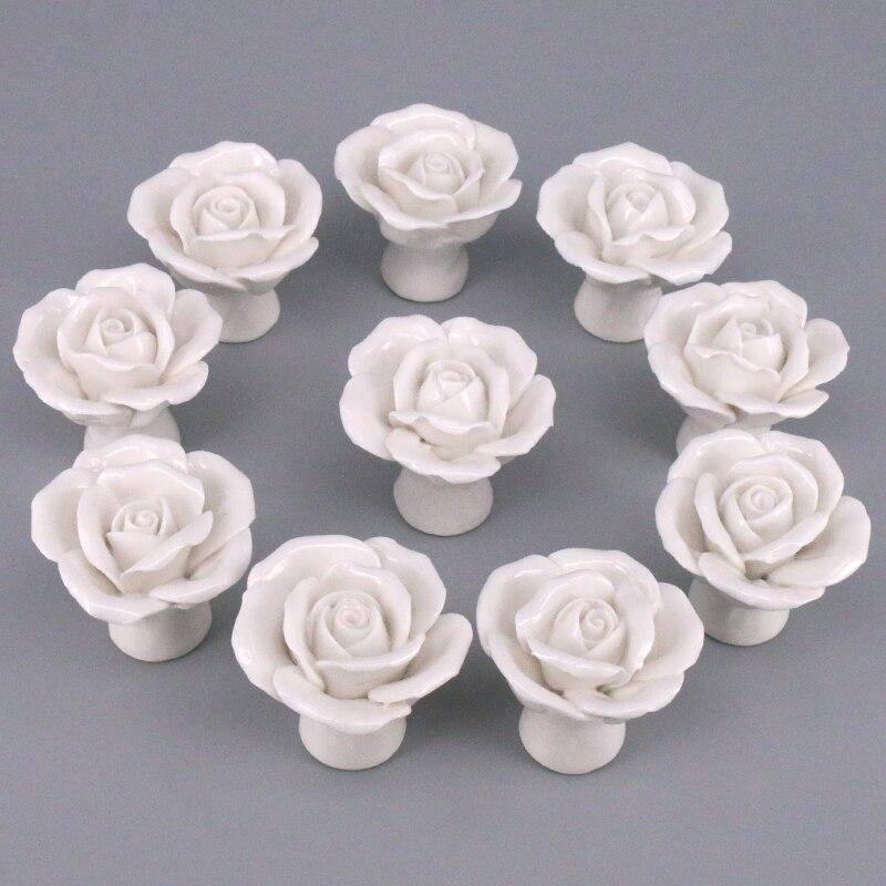 afdb5b9e4cf63e 10 sztuk ręcznie wykonane biała róża gałki ceramiczne kwiat gabinet  pociągnij kuchnia szafka klamka dzieci dresser gałka