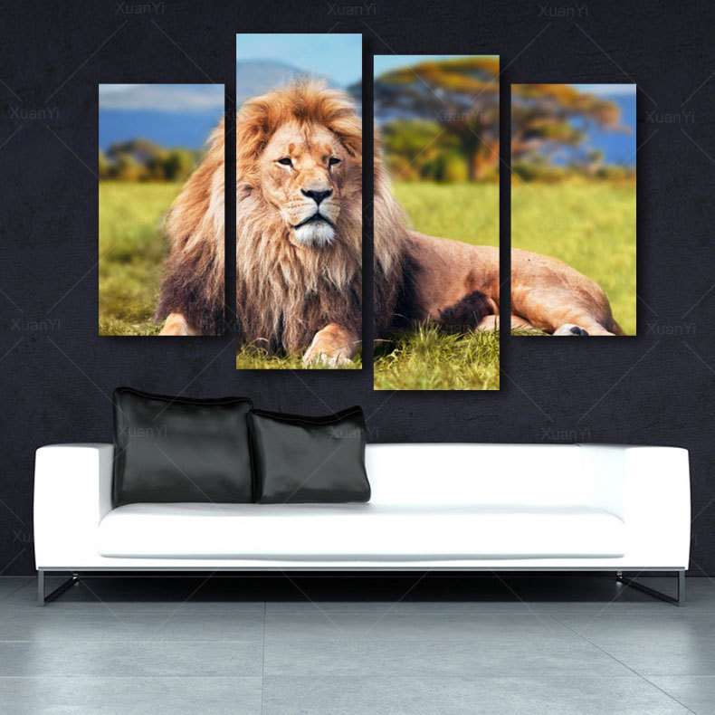 4 Pieces Modern Printed African Lion Oil Painting Decoration Animal Canvas Art Wall Picture For Living Room Arts Decor Picture