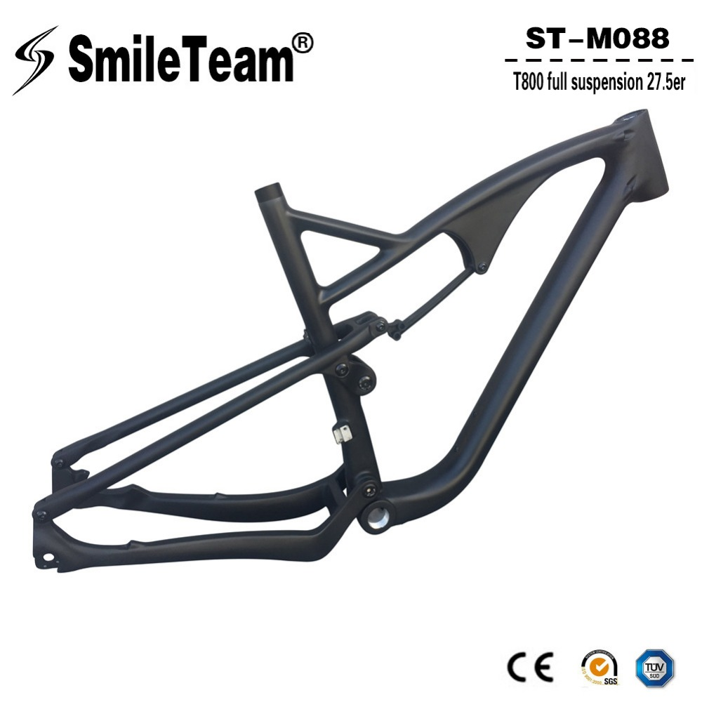 Smileteam 27.5er Carbon Full Suspension Frame 650B Carbon MTB Mountain Bike Frame 142*12mm Thru Axle Carbon Bicycle Frame 2017 new design iplay 29 full suspension frame carbon fiber 650b mtb frame 27 5er mountain bike frame ud matt 148 12mm thru axle