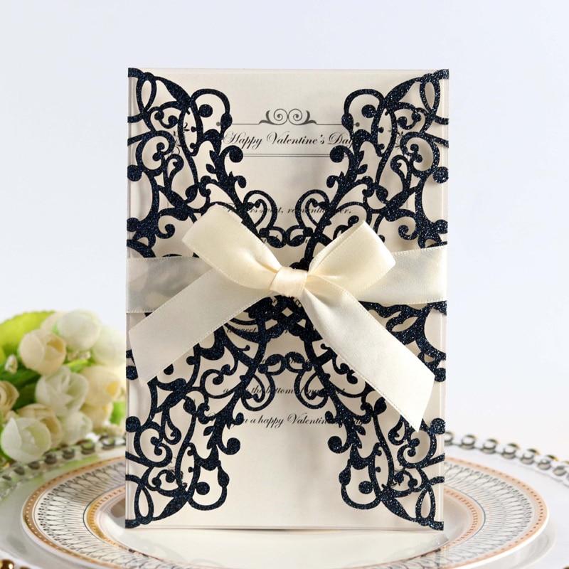 50pcs Blue Gold Silver Glitter Paper Laser Cut Wedding