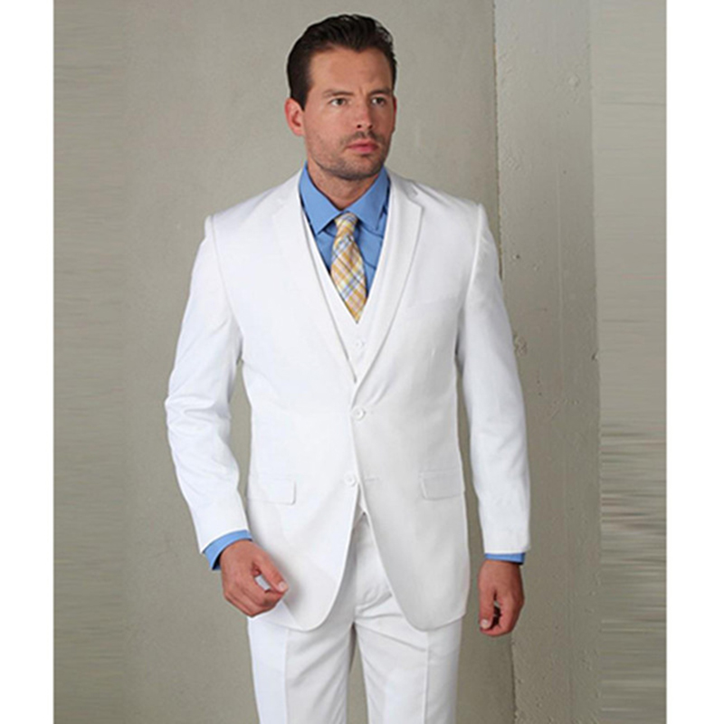 2019 Terno Slim Fit White Mens Suits Wedding Tuxedo High Quality Custom Men Suit Coat Wool Bleed Tuxedos White Three Piece Suits