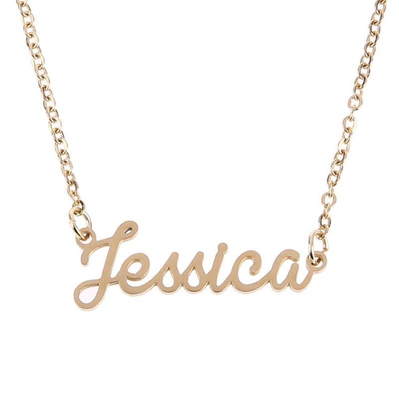 ec0a87710bbf Moda Unisex Mujer Hombre Personalizado Cursivo Nombre Personalizado Cuello Cadena  Placa de Identificación Colgante Collar Joyería Regalo Romántico